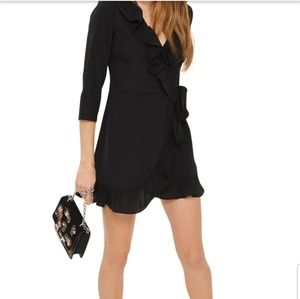 🖤TOPSHOP BLACK RUFFLE WRAP DRESS
